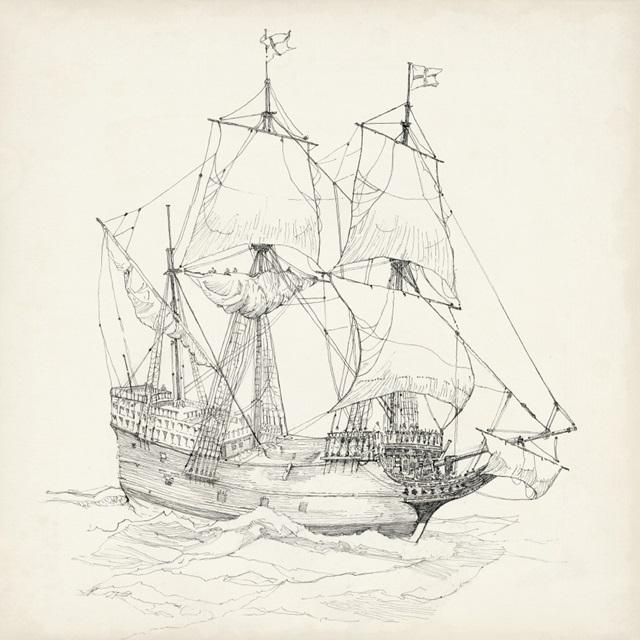 Antique Ship Sketch IV