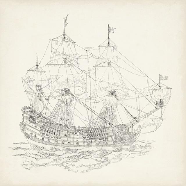 Antique Ship Sketch IX