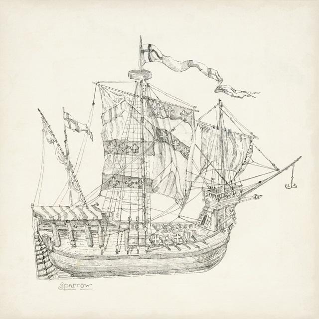 Antique Ship Sketch VIII