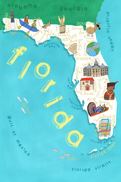 Illustrated State Maps Florida