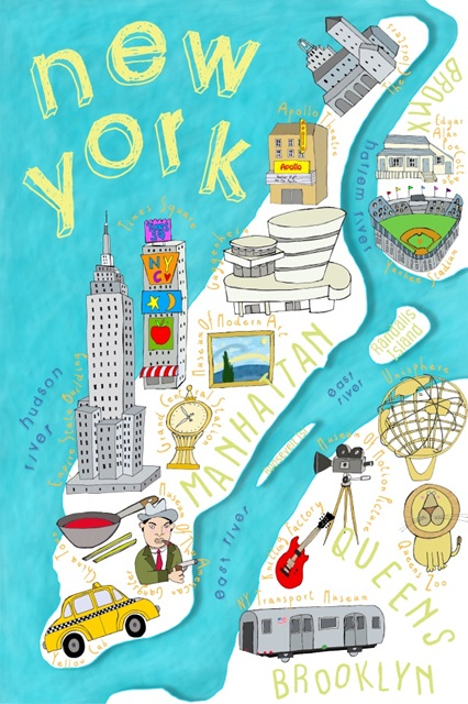 Illustrated State Maps New York