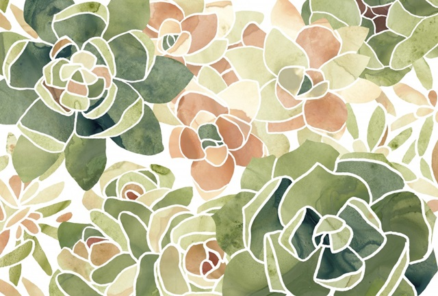 Stained Glass Succulents Collection A