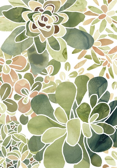 Stained Glass Succulents Collection B